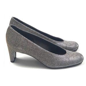 Stuart Weitzman Silver Glitter Heels